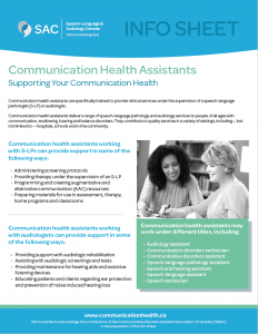 Communication health assistant info sheet